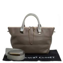 Chloe Dark Beige/Grey Leather Medium Baylee Tote