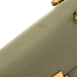 Chloe Green Grained Leather Nano Drew Shoulder Bag