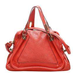 Chloe Red Leather Paraty Satchel Bag