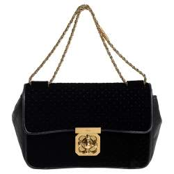 Chloé Black Velvet and Leather Medium Elsie Shoulder Bag
