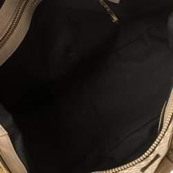 Chloe Metallic Gold/Beige Checkered Leather Ethel Satchel