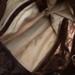 Chloe Metallic Bronze Parallel Line Detail Leather Logo Tote