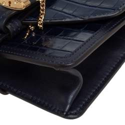 Chloe Navy Blue Croc Embossed Leather Mini Aby Shoulder Bag