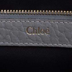 Chloe Grey Pebbled Leather Medium Sally Flap Shoulder Bag
