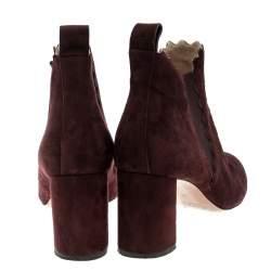 Chloe Burgundy Suede Lauren Block Heel Ankle Boots Size 38