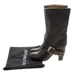 Chloe Black Leather Mid-Calf Buckle Boots Size 37