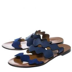 Chloe Blue Leather and Suede Lauren Wavy Three Strap Flat Slides Size 37