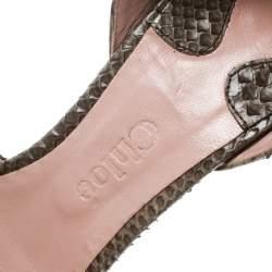 Chloe Grey Python Leather Peep Toe D'Orsay Pumps Size 40
