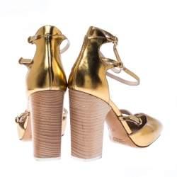 Chloe Gold Metallic Leather Block Heel Ankle Strap Pumps Size 37