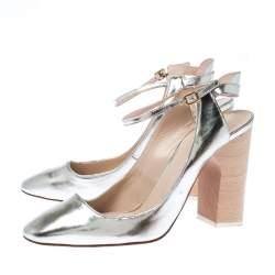 Chloe Metallic Silver Leather Ankle Strap Block Heel Sandals Sizer 38
