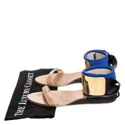 Chloe Blue/Beige Leather And Nylon Ankle Cuff Flat Sandals Size 38