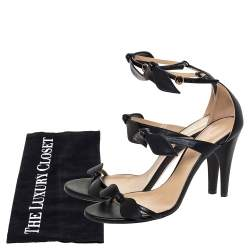 Chloe Black Leather Three Bows Mike Ankle Strap Sandals Size 39