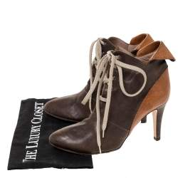 Chloe Brown Leather Pointed Toe Ankle Booties Size 36