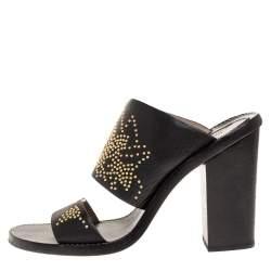 Chloe Black Studded Leather Block Heel Slide Sandals Size 38.5