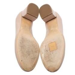 Chloe Beige Leather Lauren Scallop Trim Block Heel Pumps Size 34.5