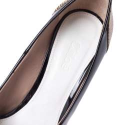 Chloe Black/Beige Patent Leather and Lizard Embossed Leather Block Heel Pumps Size 36