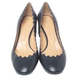 Chloe Navy Blue Leather Lauren Scalloped Pumps Size 39.5