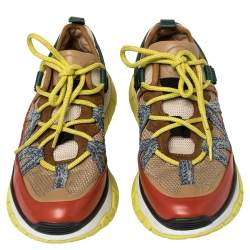 Chloe Multicolor Suede, Leather, And Mesh Panel Sneakers Size 40