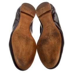 Chloé Brown Patent Leather Lauren Scalloped Ballerina Flats Size 37.5