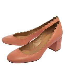Chloe Pink Leather Scalloped Round Toe Pumps Size 37