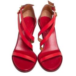 Chloe Red Leather Strappy Sandals Size 40
