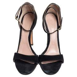 Chloé Black Suede And Patent Leather Ankle Strap Sandals Size 40