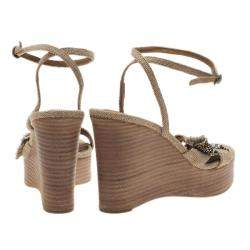 Chloe Beige Canvas Crystal Bow Ankle Strap Wedges Size 37