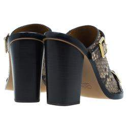 Chloe Brown Python Buckle Mules Size 39