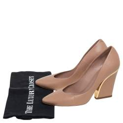Chloe Beige Leather Beckie  Block Heel  Pumps Size 38