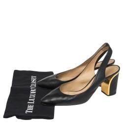 Chloe Black Leather Slingback Sandals Size 40