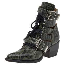 Chloe Green Python Embossed Leather Rylee Ankle Length  Boots Size 36
