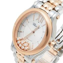 Chopard Silver 18K Rose Gold & Stainless Steel Diamonds Happy Sport Oval 278602-6002 Women's Wristwatch 29 mm