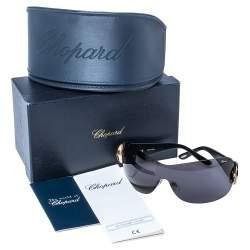 Chopard Black/ Grey Crystal Embellished SCH939S Shield Sunglasses