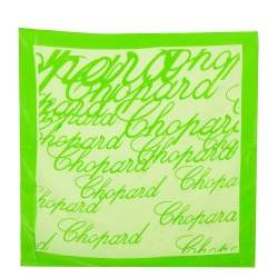 Chopard Green Logo Print Silk Handkerchief