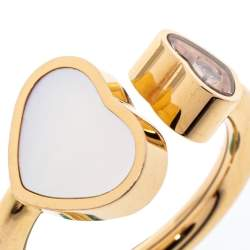 Chopard Happy Hearts Diamond Mother of Pearl 18K Rose Gold Ring Size 49