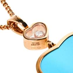 Chopard Happy Hearts Diamond Turquoise 18K Rose Gold  Pendant Necklace