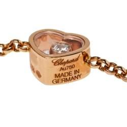 Chopard Happy Hearts Diamond Malachite 18K Rose Gold Sautoir Necklace