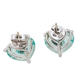 Chopard So Happy Diamond Green Stone 18K White Gold Stud Earrings