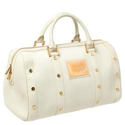 Chopard Off White Pebbled Leather Studded Boston Bag