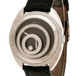 Chopard Black 18K White Gold Diamonds Happy Spirit 20/7082-20 Women's Wristwatch 32 mm