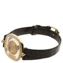 Chopard Champagne Diamonds 18K Yellow Gold Happy Diamonds 4959 Women's Wristwatch 25 MM