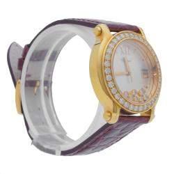 ساعة يد نسائية شوبارد هابي سبورت ذهبي وردي ألماس صدف 36 مم