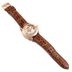 Chopard Silver Diamonds 18K Rose Gold Happy Sport 7471 Women's Wristwatch 36 MM