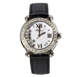 Chopard White Stainless Steel Alligator Skin Leather Diamond Happy Sport 27/8476-20 Women's Wristwatch 36 mm