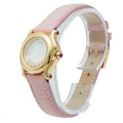 Chopard Silver Diamond Dial Happy Sport Yellow Gold Women's Watch 26 MM