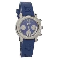 Chopard Blue Stainless Steel Diamonds Happy Sport 27/8323-23 Women's Wristwatch 32.5MM