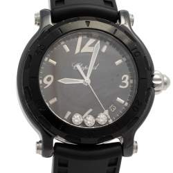 Chopard Black Ceramic Diamonds Happy Sport Limited Edition 28/8507 Women's Wristwatch 38 mm