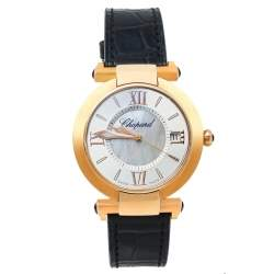 Chopard Silver 18K Rose Gold and Leather Imperiale 4822 Women's Wristwatch 36mm