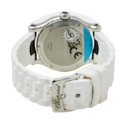 Chopard White Stainless Steel and Rubber Happy Sport 8582 Women's Wristwatch 36mm