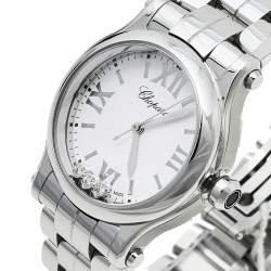 Chopard White Stainless Steel Happy Sport 8590 Women's Wristwatch 30mm